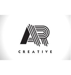 ar logo letter with black lines design line letter vector image