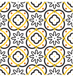 azulejos black and white mediterranean seamless vector image