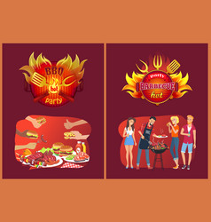 barbecue party emblems and friends near grill vector image