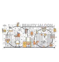 Beauty saloon concept flat line art vector