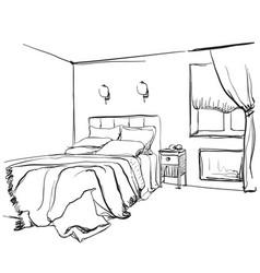 Bedroom interior sketch hand drawn furniture vector