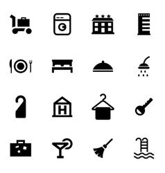 black hotel icon set vector image