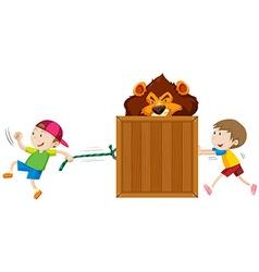 Boys pulling and pushing box of tiger vector image