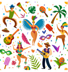 brazilian carnival seamless pattern dancers and vector image