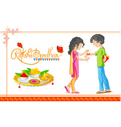 Brother and sister tying rakhi on raksha bandhan vector