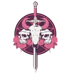 Bull and human skull with sword vector