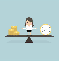 businesswoman with money and time balance concept vector image