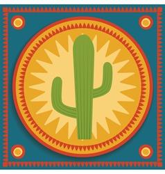 cactus on stylized background vector image