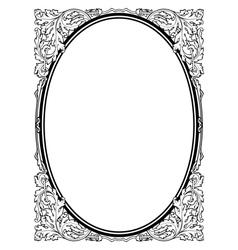 Calligraphy penmanship oval baroque frame black vector