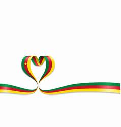 cameroon flag heart-shaped ribbon vector image