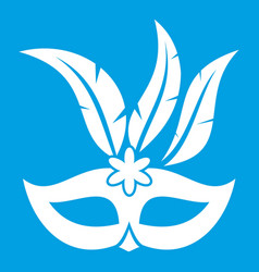 carnival mask icon white vector image
