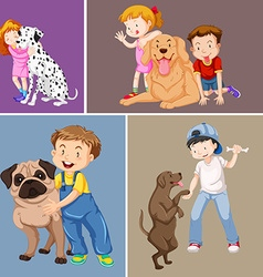 Children and pet dogs vector
