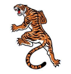 Classic tattoo pose tiger vector