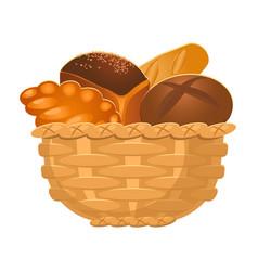 Closeup homemade wicker basket with bakery vector