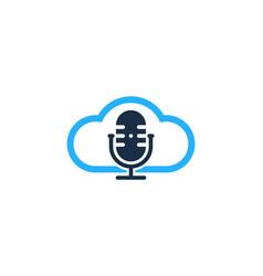 cloud podcast logo icon design vector image