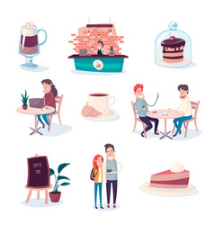 coffee and sweets make people happier vector image