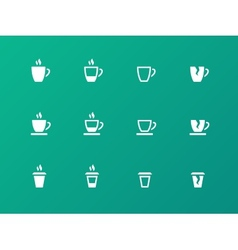 Coffee cup circle icons on green background vector
