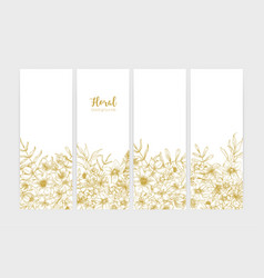 collection vertical botanical backdrops vector image