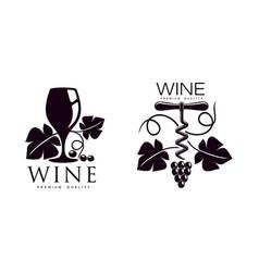 Corkscrew decorated with grapevine icon vector