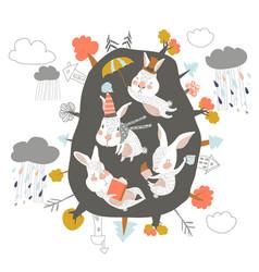 Cute cartoon rabbits in den hello autumn vector