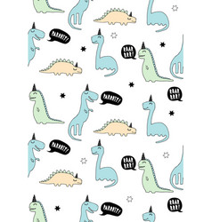 cute dinosaurs infantile style pattern vector image