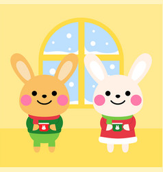 cute rabbits with warm drink at home cartoon vector image