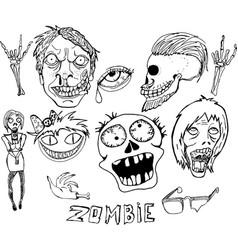 Cute zombie set vector