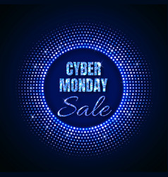 cyber monday sale technology background in neon vector image
