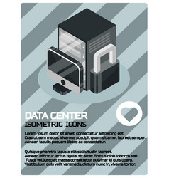 data center color isometric poster vector image