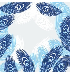 Design background with hand drawn feathers peacock vector image