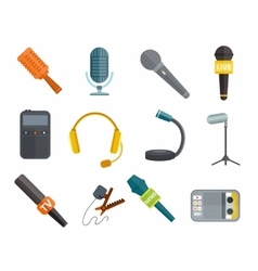 Different microphones types icons vector