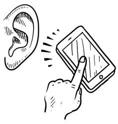 Doodle ear phone call listen vector