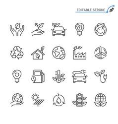 Eco line icons editable stroke vector