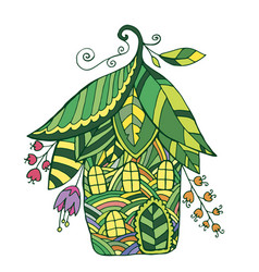 Fairy house in the form of flowers and leaf vector