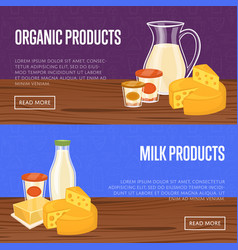 Farm products banner with dairy composition vector