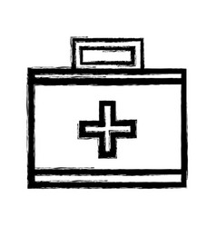 figure suitcase with medical first aid kit vector image