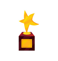 flat icon of golden award in shape of star vector image