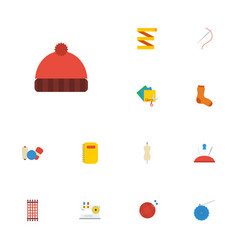 Flat icons macrame beanie needle and other vector