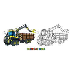Funny harvester car with eyes coloring book vector
