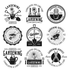 Gardening service set of emblems badges labels vector