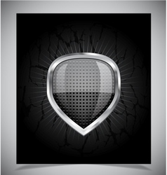 Glossy shield emblem on black background vector image