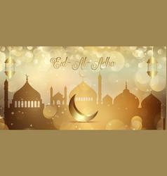 Gold bokeh lights banner for eid al adha vector