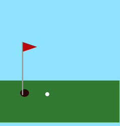 golf ball and hole with red flag on green vector image
