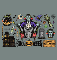 halloween colorful vintage elements set vector image