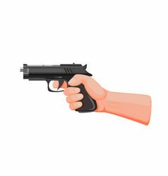 Hand holding gun aiming ready to shot vector