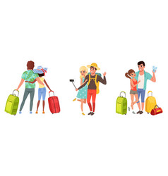 happy couples going on summer vacation set young vector image