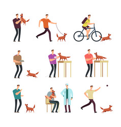 Happy man with dog in daily routine people and vector
