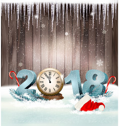 Happy new year 2018 background with santa hat and vector