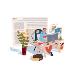 home office in quarantine time coronavirus vector image