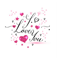 i love you text of valentines day background vector image